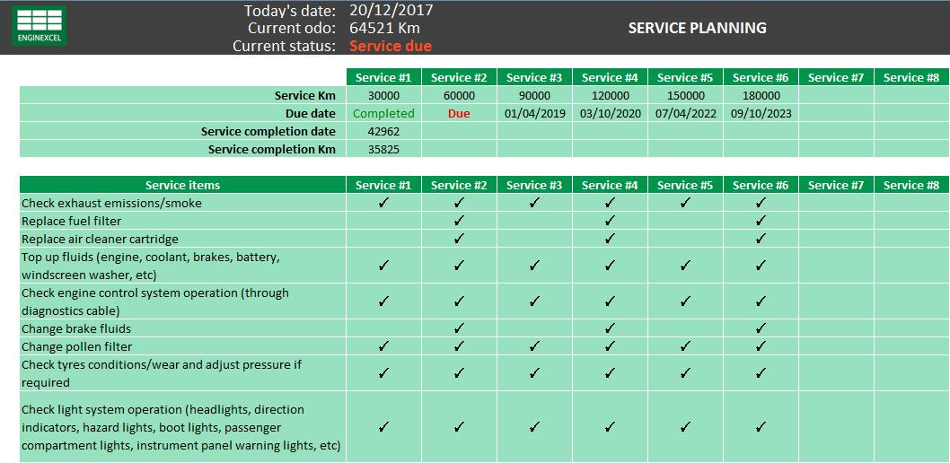 car service schedule