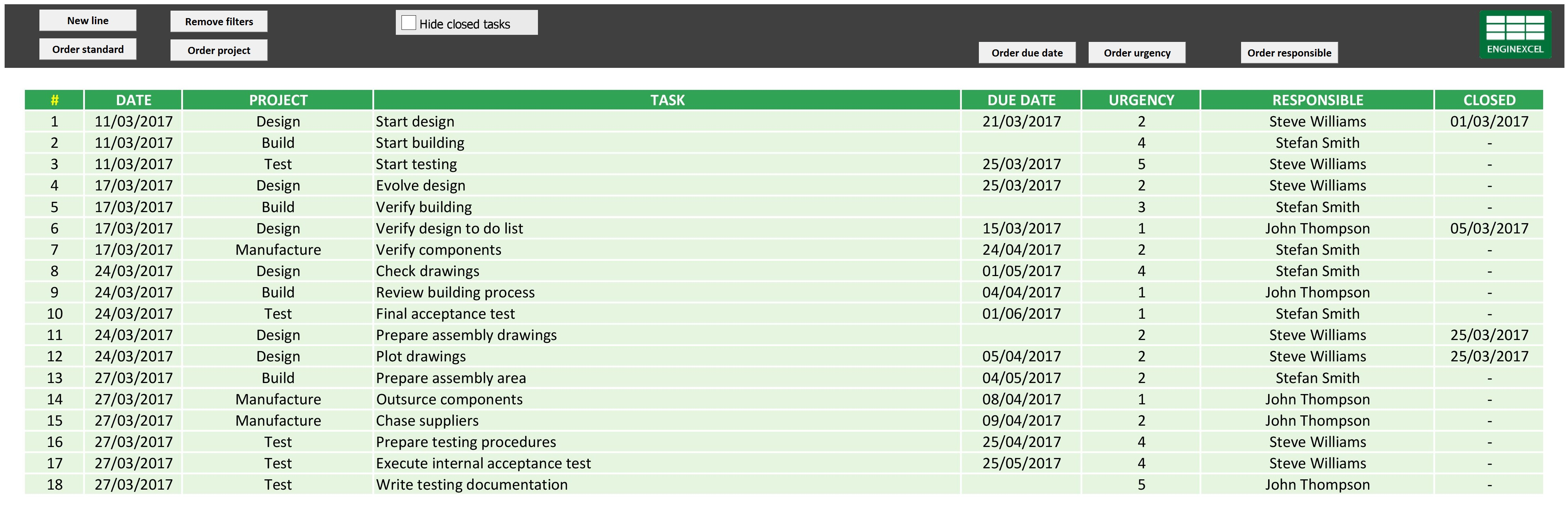 EnginExcel To do list